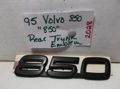 Volvo 850 TRUNK EMBLEM nameplate black  logo badge symbol oem 2028 #VOLVO850TRUNKEMBLEM
