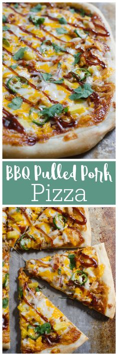 BBQ Pulled Pork Pizza recipe - delicious sweet and spicy pizza. Layers of barbecue sauce, pulled pork, jalapenos, pineapple, and lots of cheese! Recipes Using Pork, Quick Recipes, Quick Easy Meals, Real Food Recipes, Cooking Recipes, Barbecue Sauce, Bbq, Pulled Pork Pizza, Spicy Pizza