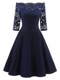 Lace Off The Shoulder Vintage Flare Dress
