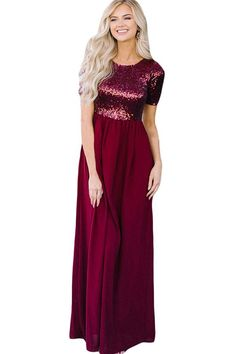 Maxi Sequins Round Neck Short Sleeve Sexy Dark-red Party Dress 4cfad79258ea