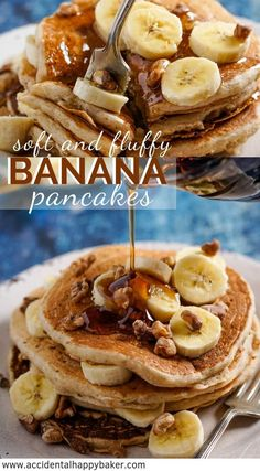 Light and fluffy banana pancakes have the taste of banana bread baked inside to make an easy breakfast treat your whole family will love. #bananapancakes #pancakerecipe #breakfast #brunch #pancakes #accidentalhappybaker