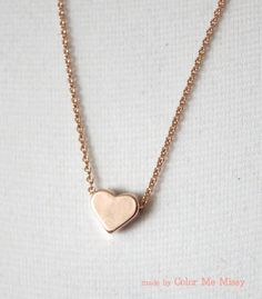 Petite Rose Gold Heart Necklace - Rose Gold Filled Chain, chic, dainty, love, simple, www.colormemissy.com, by ColorMeMissy