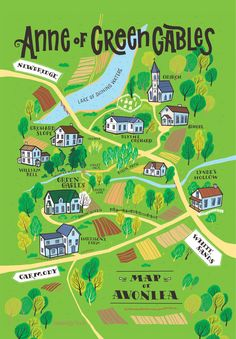 Avonlea map inspired by Anne of Green Gables Anne Shirley, Anne Of Green Gables, Anne De Avonlea, Gable House, Gilbert And Anne, Anne White, Anne With An E, Kindred Spirits, Diana