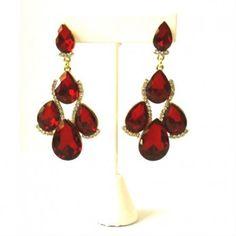 Red and Rhinestone Drop Earrings