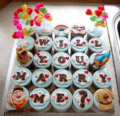 Disney Up proposal cupcakes