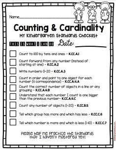 Kindergarten Standards - I Can Statements - Freebies Cardinality Kindergarten, Kindergarten Goals, Kindergarten Assessment, Math Assessment, Kindergarten Lesson Plans, Kindergarten Classroom, Teaching Math, Classroom Ideas, Kindergarten Math Stations