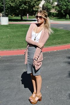 Love the striped skirt with loose sweater
