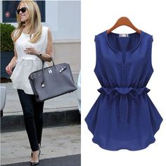 Cheap blouse fashion, Buy Quality blouses plus directly from China fashion blouses Suppliers: Blusas Femininas Summer Women Casual OL Chiffon Bow Blouses Solid Sleeveless Shirts Women Fashion Tops Tanks Vest Plus Size Casual Dresses, Casual Outfits, Fashion Outfits, Nice Dresses, Dress Shirts For Women, Blouses For Women, Blouse Styles, Blouse Designs, Western Outfits Women