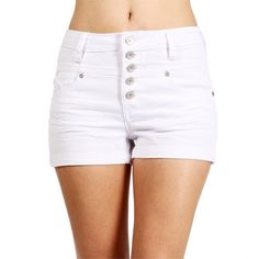 White High Waisted Denim Shorts ($11) ❤ liked on Polyvore