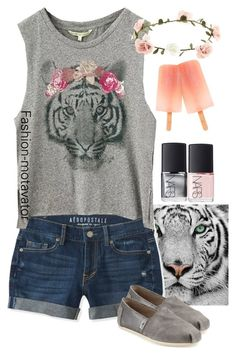 """Out with friends"" by fashion-motavator ❤ liked on Polyvore featuring Aéropostale, TOMS, NARS Cosmetics and Accessorize"