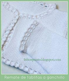 Muestra del remate de tablitas a ganchillo Knitting For Kids, Crochet For Kids, Baby Knitting, Knitting Stiches, Crochet Stitches, Knitting Patterns, Cute Crochet, Crochet Baby, Knit Crochet