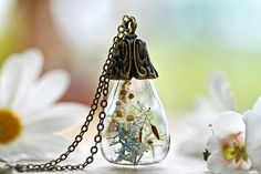Fairy garden pendant , dandelion wish necklace, miniature terrarium jewellery , make a wish ,  good luck charm , made in Ireland #A8