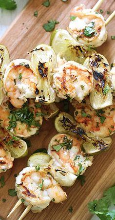 grilled cilantro lime shrimp kabobs....