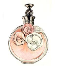 Watercolor Fashion Illustration Art Print, Valentino Perfume Bottle,. $10.00, via Etsy.