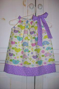 Pillowcase Dress HAPPY TURTLES Purple toddler girl..  Last One