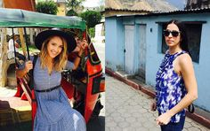 Left: Next stop: Guatemala! We took all kinds of transportation - like this bright little bus - to see what these amazing, industrious women do. Right: My fellow #bosslady, Rebecca, keeps her cool. It's hard not to be inspired by all of the beautiful colors surrounding us.
