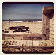 The modular bench on the beach #mowk #furniture #wood #beach #bench #recycle