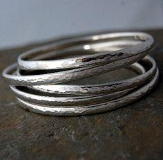 Simple handmade chunky sterling silver bangle