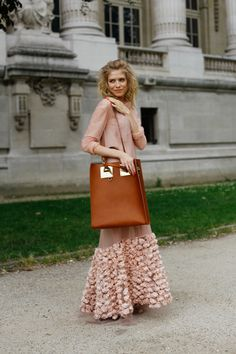 Elena Perminova in Ulyana Sergeenko dress + Sophie Hulme tote via All The Pretty Birds