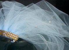 baby blue, bachlorette veil, bachlorette party veil, bridal shower veil, shower veil, bride party veil, bridal shower accessory, tulle veil by SuspendedStar on Etsy