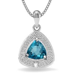 A breathtaking and beautiful treasure! Engaging blue topaz with sparkling diamond in gleaming 0.925 sterling silver plated with platinum. A versatile look for any occasion.Gorgeous and blue as the ocean sea, this blue topaz pendant is an eye catcher. Beautiful piece of jewelry you should own! With the perfect price, no reason to hesitate to purchase this precious pendant!  Today's price: $5