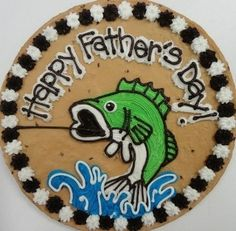 Father's day cookie cake Cookie Cake Decorations, Cookie Cake Designs, Cookie Decorating, Cookie Cakes, Cookie Ideas, Brownie Ideas, Birthday Cake Cookies, Fish Cookies, Fancy Cookies