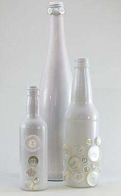 White Glass Bottle Set of Three