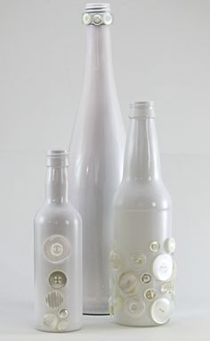 White Glass Bottle Set of Three