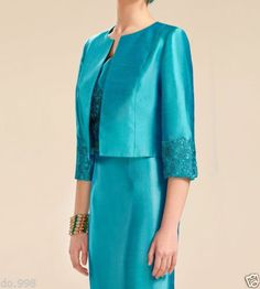 Turquoise Mother Of The Bride Dresses Free Of Jacket Short Woman Formal Outfit