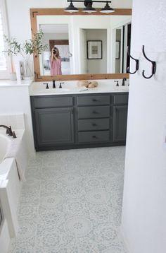 My Stenciled Tile Floor - The One Year Update Stenciled Tile Floor Tile Floor Diy & 14 Best Floor Ideas images | Kitchen flooring Kitchens Kitchen ideas