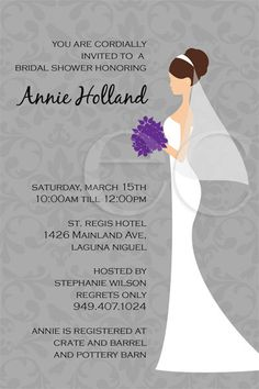 Damask Bridal Shower Invitation 4x6 by eventfulcards on Etsy, $15.99