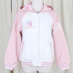 jacket kawaii pastel japan japanese lolita warm sweater shirt fluffy harajuku pink hoodie