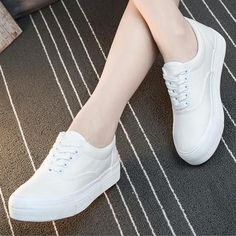 Women Summer Casual Shoes Flat Canvas White Shoes Low Help Platform Shoes  Lace Up Vulcanized Shoes Ladies Sneakers bc3e046f0