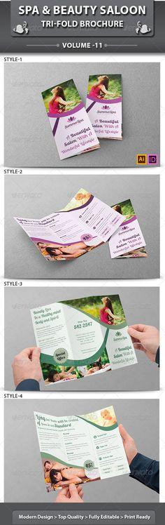 Spa & Beauty Saloon Tri-Fold Brochure   Volume 11