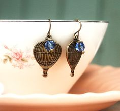 Hot Air Balloon66 Earrings Blue and Brass Earrings by TEHWomen, $12.00 #EtsyAAA #Etsy