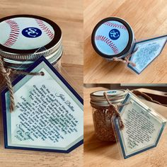 dirt jar memento I made this jar for our baseball boys to put dirt from the field in on senior day.I made this jar for our baseball boys to put dirt from the field in on senior day. Little League Baseball, Baseball Boys, Softball Mom, Baseball Games, Baseball Birthday, Baseball Shirts, Baseball Outfits, Baseball Couples, Baseball Boyfriend