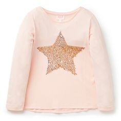 100% Cotton tee. Long sleeve t-shirt features front placement sequin star motif. Regular fitting silhouette. Available in Peach Blossom.