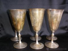 6 COPAS METAL  TIPO CALIZ. Uranio ofebre spain- 17,50 cm - MUY ANTIGUAS SEIS COPAS