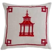 #06 Pagoda Red - Embroidered w/ Knife Edge Pillow