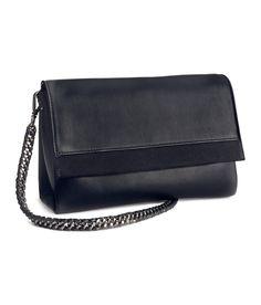 Shoulder bag in soft, premium-quality leather. Decorative suede panel,  detachable metal shoulder strap, and magnetic closure. | H&M Accessories