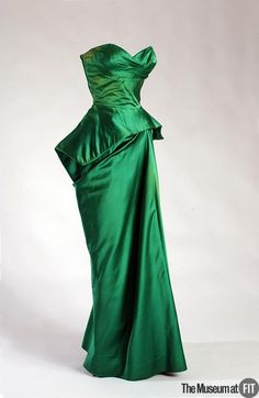 Dress Charles James, 1957 The Museum at FIT late 50s long gown dress strapless evening wear formal peplum silk satin emerald designer couture hollywood glamour looks