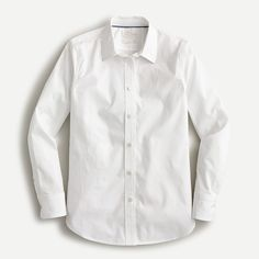 Shop J.Crew for the Slim-fit stretch cotton poplin shirt for Women. Find the best selection of Women Shirts & Tops available in-stores and online. Pencil Skirt Work, White Shirts Women, Wear Test, Cashmere Sweaters, Capsule Wardrobe, Poplin, Clothes For Women, Work Clothes, Casual