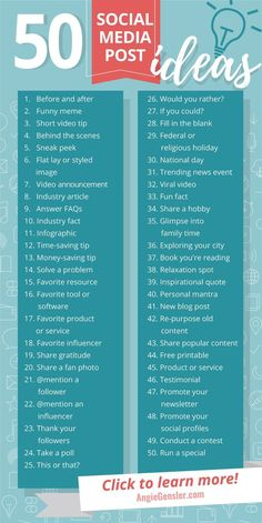 Get these 100 ideas of what to post on social media! - Do you need ideas on what you want to publish on social media? These 50 ideas are perfect for busin - media marketing ideas startups Social Marketing, Marketing Digital Online, Digital Marketing Strategy, Facebook Marketing, Marketing Tools, Affiliate Marketing, Internet Marketing, Examples Of Marketing Strategies, Influencer Marketing