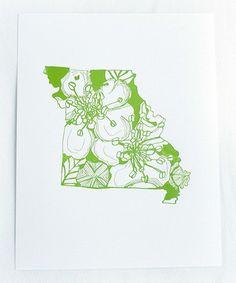 Look at this #zulilyfind! Missouri Hawthorn State Flower Letterpress Print #zulilyfinds