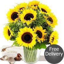 Autumn Sunflowers & Chocolates Fabulous Sunflowers & Solidago Bouquet