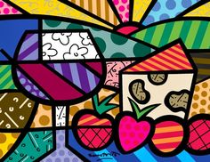 Wine and Cheese pop-art by Romero Britto Psychedelic Art, Mondrian, Painting For Kids, Art For Kids, Graffiti Painting, Wine Art, Kandinsky, Fantastic Art, Heart Art