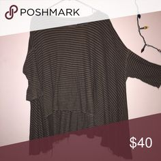 FP TOP/TUNIC OVERSIZED FP TUNIC/TOP. OLIVE GREEN WITH BLACK STRIPES. NO TRADES OR PP. MAKE ME AN OFFER!!!! Free People Tops Blouses