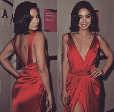 red dress, short hair, and silk image