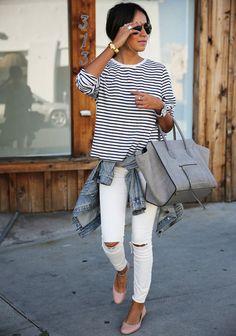 T-shirt: sincerely jules blogger striped top grey bag ballet flats white jeans bag shoes pants shirt