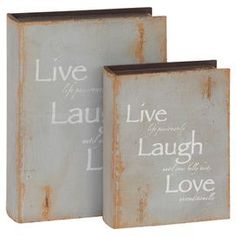 """Set of two warmly weathered book boxes.   Product: Small and large book boxConstruction Material: Hollowed woodColor: GrayFeatures: Will enhance any décorDimensions: 12"""" H x 9"""" W x 3"""" D (large)"""